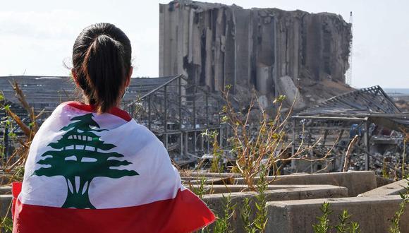 Un joven libanesa que lleva la bandera nacional observa los graneros dañados por la explosión en el puerto de Beirut. (Foto: AFP).