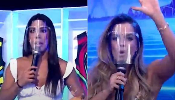 """Alejandra Baigorria y Karen Dejo discuten en """"Esto es guerra"""". (Foto: Captura América TV)."""