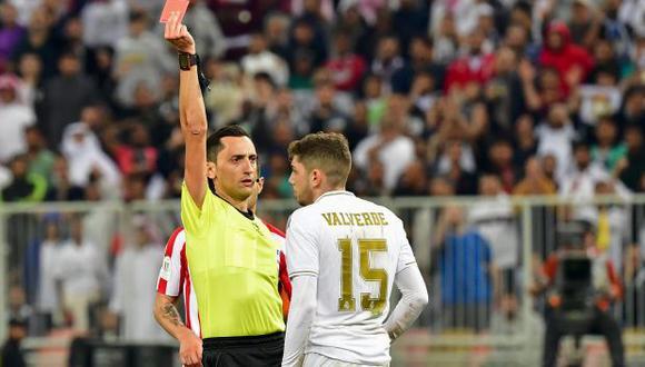 Federico Valverde fue expulsado a falta de 5 minutos para el final de la prórroga de la Supercopa. (Foto: AFP)