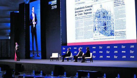 Juan José Garrido, Sebastião Mendonça, Rodrigo Isasi y Ximena Vega en CADE 2019.  Foto: Hugo Pérez