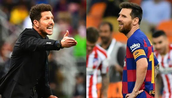 Diego Simeone y Lionel Messi siempre han sido adversarios, defendiendo los colores del Atlético de Madrid y Barcelona, respectivamente. (Fotos: Reuters/AFP)