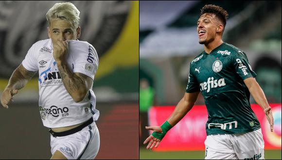 Santos y Palmeiras se enfrentan este sábado en la gran final de la Copa Libertadores. (Fotos: AFP)