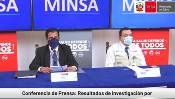 El ministro Rosel junto con el superintendente Acosta. (captura FB Minsa)