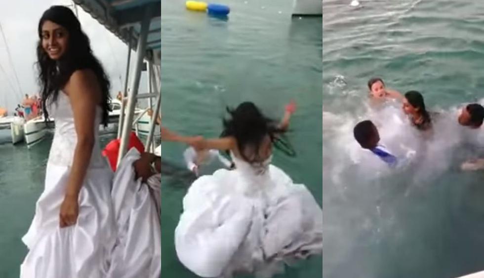 En el mar de Honduras, una novia quería impresionar a su esposo y se lanzó al agua sin calcular que el vestido le impediría nadar bien. El video en Facebook alcanzó más de 88 millones de reproducciones y se volvió viral. (Foto: Captura)