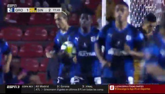 Aké Loba colocó el 2-1 en el Queretaro vs. Dorados por la fase de grupos de la Copa MX. El duelo se dio en el estadio Corregidora (Foto: captura de pantalla)