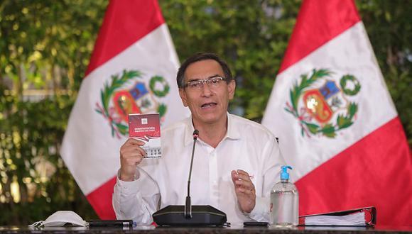 El presidente Martín Vizcarra brinda un balance por los 100 días de la cuarentena junto al Consejo de Ministros, el pasado miércoles 24 de junio. (Foto: Sepres).