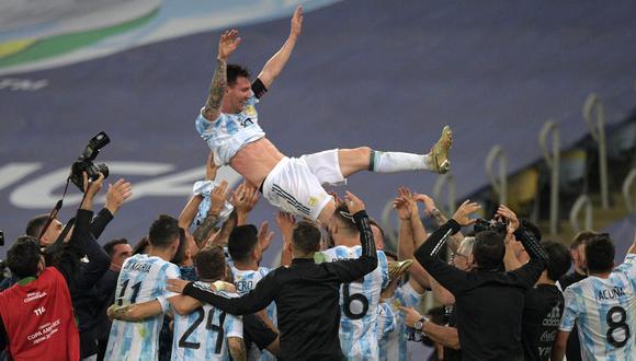 Messi celebrando con sus compañeros en el Maracaná. (Foto: Selección argentina)
