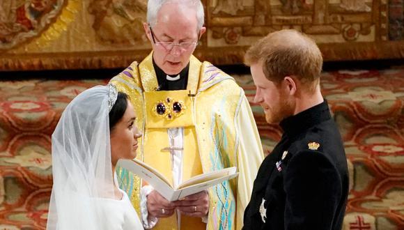 El príncipe Harry, Meghan de Sussex y el arzobispo Justin Welby. (Foto: AFP | Owen Humphreys)