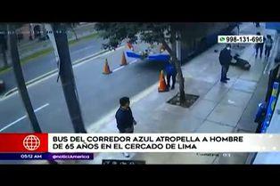 Bus del corredor azul atropelló y dejó herido a anciano en el Cercado de Lima