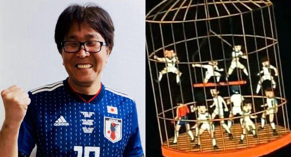 """El padre de """"Super Campeones"""" vivió con emoción el debut de Japón en Rusia 2018 . (Foto: Twitter)"""