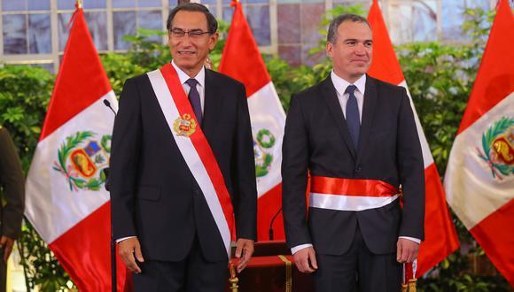 El presidente Martín Vizcarra y el primer ministro Salvador del Solar, durante la ceremonia de juramentación del nuevo Gabinete, el pasado lunes 11 de marzo. (Foto: Sepres).