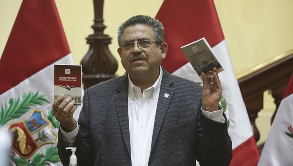 El presidente del Congreso, Manuel Merino, ofrece una conferencia de prensa el sábado 12 de setiembre (Foto: Congreso).