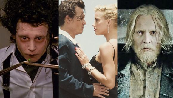 """De izquierda a derecha, películas fundamentales en la carrera de Johnny Depp: """"El joven manos de tijera"""" (1990), """"The Rum Diaries"""" (2011, donde conoció a su expareja Amber Heard) y """"Fantastic Beasts: The Crimes of Grindelwald"""" (2018). Fotos: Fox/ FilmDistrict/ Warner Bros."""