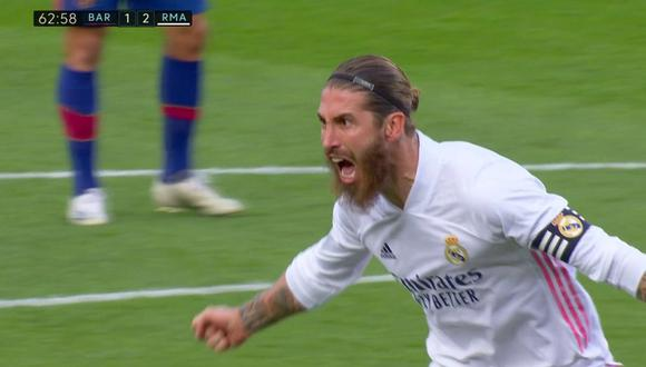 Sergio Ramos marcó el 2-1 de Barcelona vs. Real Madrid. (Video: DirecTV Sports / Fuente: LaLiga)