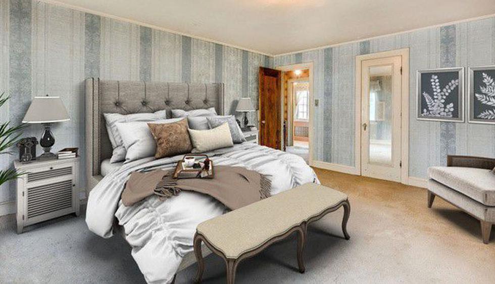 La habitación principal luce acogedora. Se utilizaron tapices en tonos azules para decorarla. (Foto: Realtor)