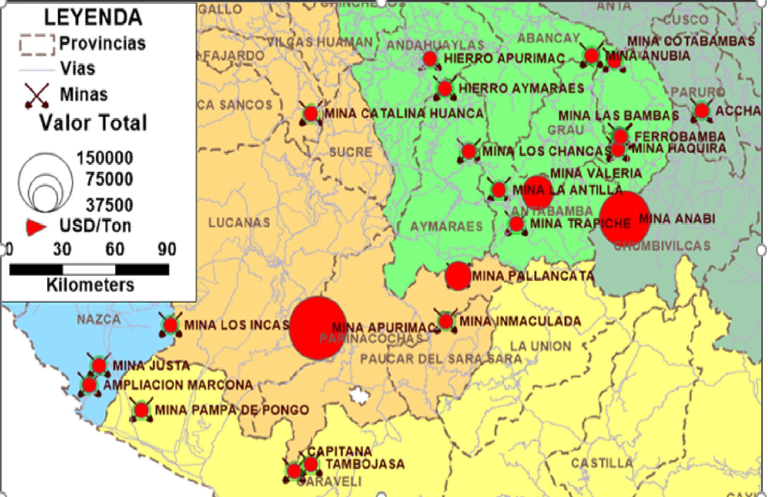 Minas y proyectos mineros en la ruta del ferrocarril San Juan de Marcona-Andahuaylas.