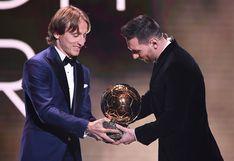 Balón de Oro 2019: el afectuoso abrazo de Modric a Messi durante la entrega del premio