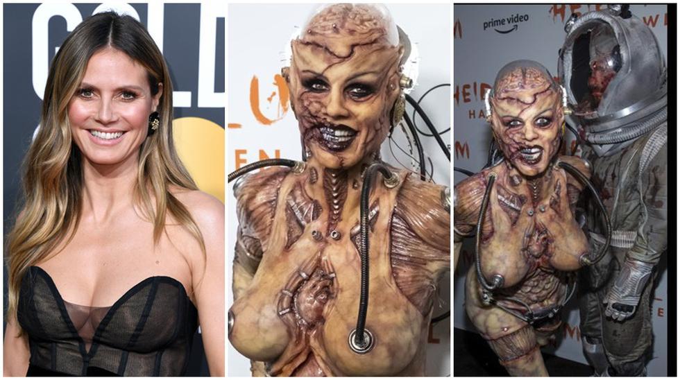 Heidi Klum sorprendió al llegar al 20th Annual Halloween Bash disfrazada de una alienígena, prácticamente desnuda y con el cerebro expuesto. (Foto: Agencia / Instagram)