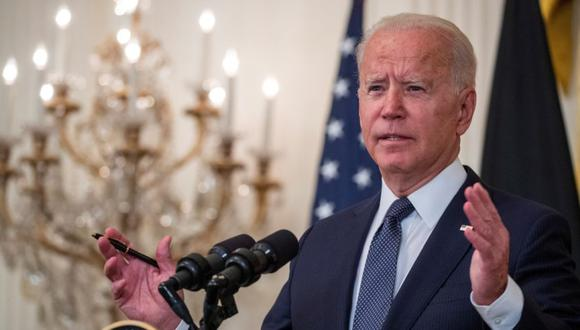 El presidente estadounidense Joe Biden participa en una conferencia de prensa conjunta en el East Room de la Casa Blanca en Washington, DC, Estados Unidos. (Foto: EFE / EPA / SHAWN THEW).