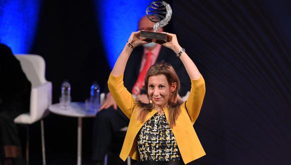 El pasado octubre, Eva García Sáenz de Urturi se impuso en la edición 69 del prestigioso Premio Planeta. Foto: (AFP/Lluis Gene)