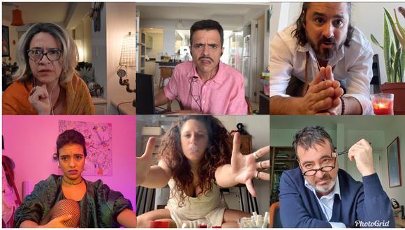 ESTÁN TODOS. El elenco de la serie web está formado por (desde la esquina superior izquierda): Wendy Ramos, Gabriel Iglesias, Rómulo Assereto, Jely Reátegui, Gisela Ponce de León y Carlos Carlín. (Fotos: Alfonso Casabone)