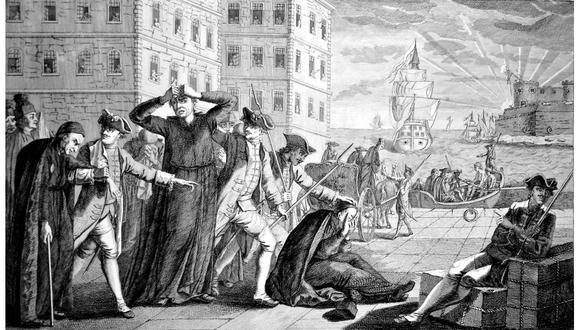 """""""Expulsión y embarque de los jesuitas de los Estados de España, por orden de S. M. C, el 31 de marzo de 1767"""". Grabado en plancha de cobre, ca. 1800. [Foto: Wikimedia commons]"""