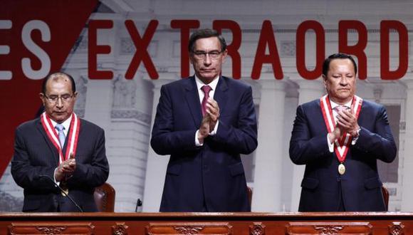 El presidente Martín Vizcarra participa en la ceremonia de entrega de las credenciales de los nuevos congresistas, el pasado viernes 28 de febrero.