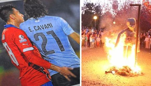 Copa América: muñeco de Gonzalo Jara es quemado en Uruguay