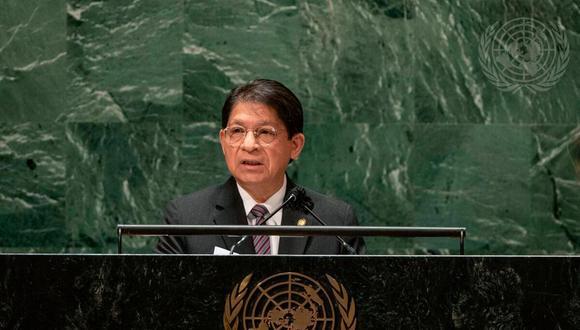 """En su discurso ante la Asamblea General de las Naciones Unidas, el canciller de Nicaragua, Denis Moncada, también condenó """"las agresiones políticas hegemónicas norteamericanas"""". (Foto: Cia Pak / AP)"""