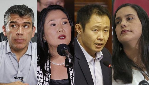 De izquierda a derecha: Julio Guzmán, Keiko Fujimori, Kenji Fujimori y Verónika Mendoza. (Foto: El Comercio)