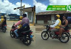 Puerto Maldonado: pasajeros de motos son trasladados sin cascos