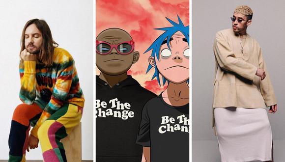 """Tame Impala, Gorillaz y Bad Bunny habrían trabajado en una colaboración para el disco """"Song Machine"""" de la banda animada. (@badbunnypr / @gorillaz / @tameimpala)."""
