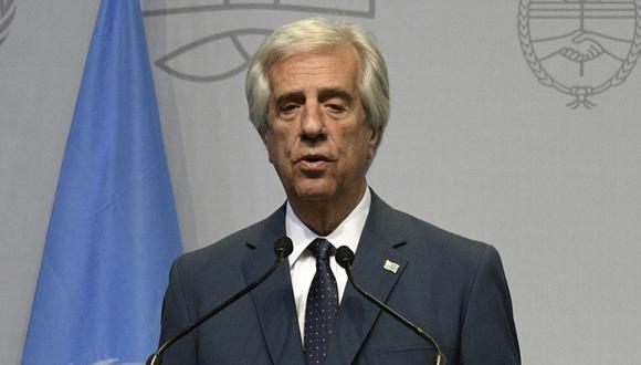 El presidente de Uruguay, Tabaré Vázquez, pronuncia un discurso durante la inauguración de la Segunda Conferencia de Alto Nivel de las Naciones Unidas sobre Cooperación Sur-Sur en Buenos Aires, Argentina, el 20 de marzo de 2019. (JUAN MABROMATA / AFP).
