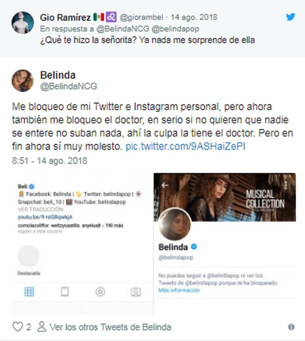 Belinda en Twitter.