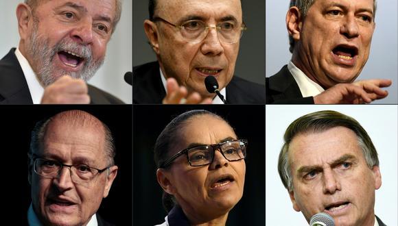 Lula da Silva, Henrique Meirelles, Ciro Gomes, Geraldo Alckmin, Marina Silva y Jair Bolsonaro son los favoritos. (Foto: AFP)