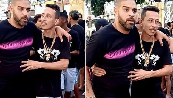 Adriano fue grabado saliendo de una fiesta funk sostenido por un amigo. (Captura: Twitter / Fábia Oliveira)