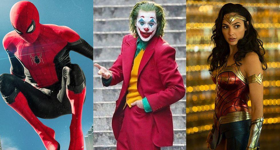 """De izquierda a derecha: """"Spider-Man: Far From Home"""", """"Joker"""", y """"Wonder Woman 1984"""", algunas de las cintas que se estrenarán en las salas de cine en los próximos 12 meses."""