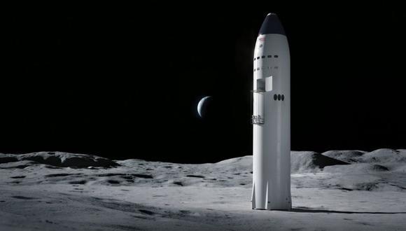 Ilustración: SpaceX busca que la Starship lleve astronautas a la Luna.