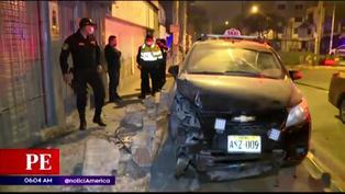 SJM: Policía detiene a taxista que intentó fugar tras chocar su vehículo