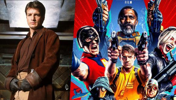 """A la izquierda, Nathan Fillion como Malcolm """"Mal"""" Reynolds en  """"Firefly"""", serie de Joss Whedon que con solo una temporada se volvió una serie de culto. A la derecha, el póster de """"The Suicide Squad"""", la próxima cinta del actor que, antes de estrenarse, acumula críticas positivas. Fotos: 20th Century Fox/ Warner Bros."""