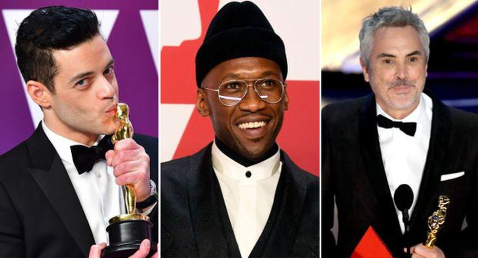Premios Oscar 2019 GANADORES | Rami Malek, Mahershala Ali y Alfonso Cuarón. (Foto: AFP)