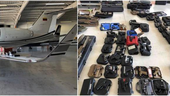En la avioneta se encontraron 82 armas de fuego, incluido un rifle de francotirador Barrett calibre .50 y 18 rifles, además de 63.000 rondas de municiones. Hay dos venezolanos detenidos. Fue incautada en Florida e iba con destino a Venezuela. (Foto: @CBPFlorida, vía Twitter).