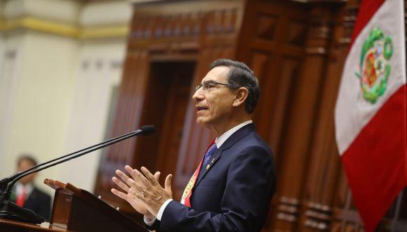 El presidente Martín Vizcarra anunció el proyecto de reforma constitucional en su mensaje a la Nacion. (Foto: Presidencia)