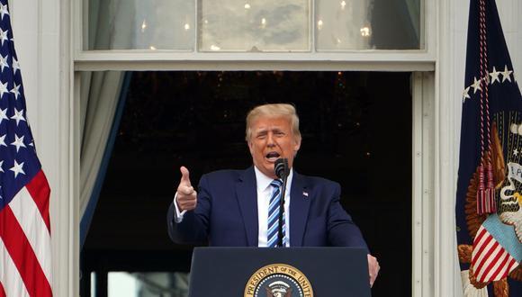 Donald Trump pronuncia su primer discurso desde la Casa Blanca tras ser diagnosticado de coronavirus. (Foto: MANDEL NGAN / AFP).