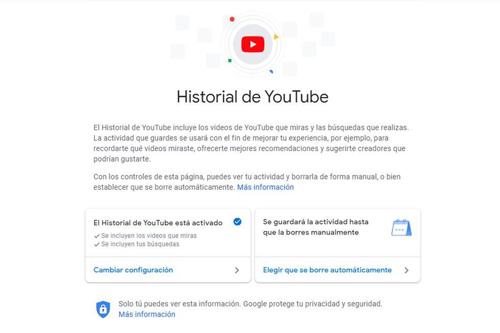 Tiene varias opciones para elegir cuánto tiempo deseas que se borre tu historial de YouTube. (Foto: Captura)