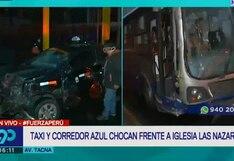 Cercado de Lima: reportan choque entre taxi y bus del corredor azul en la Av. Tacna | VIDEO