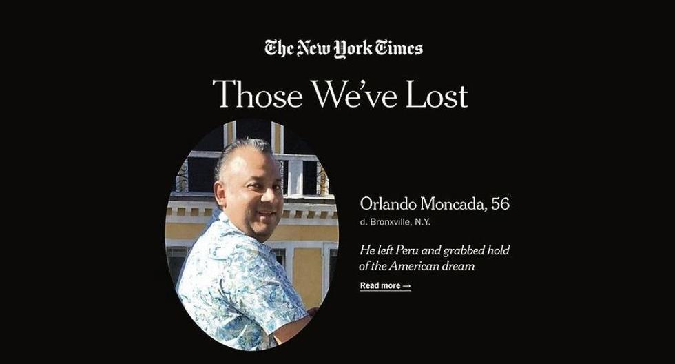 """Estados Unidos es el país con más fallecidos por el coronavirus COVID-19 en el mundo. Uno de los obituarios publicados en el proyecto 'Those We've Lost' (Aquellos a los que Hemos Perdido) del diario """"The New York Times"""" fue el del peruano Orlando Moncada. (Captura de pantalla)"""