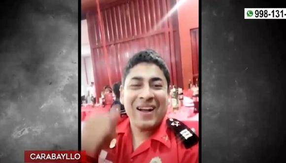 """Bomberos fallecido pertenecía a la Compañía """"Brigadier CBP Julio Upiachihua Cárdenas – Puente Piedra. (Captura: América Noticias)"""