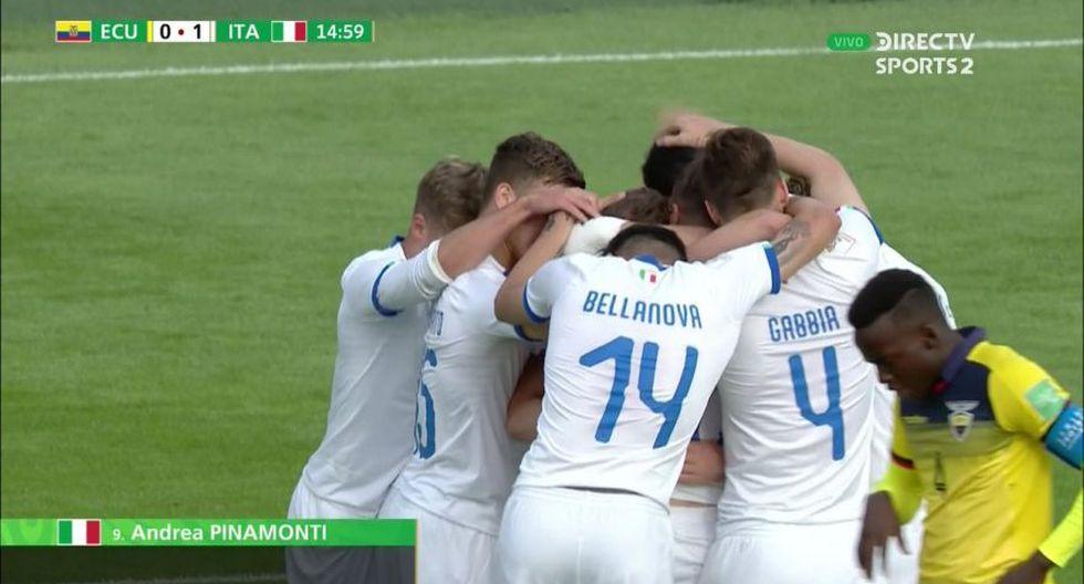 Andrea Pinamonti se encargó de colocar el 1-0 en el Ecuador vs. Italia por el Grupo B del Mundial Sub-20 (Foto: captura de pantalla)