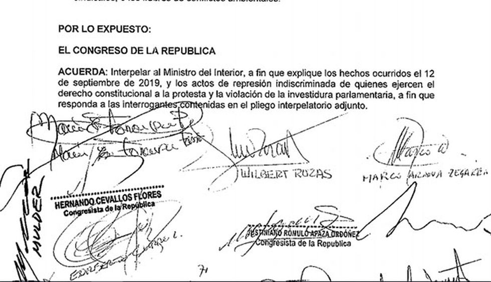 Este es el pliego interpelatorio presentado contra Carlos Morán en el Congreso. (Foto: Difusión)